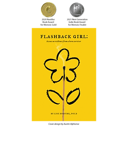 cover of the book Flashback Girl with a graphic of 2020 Nautilus Book Award & 2021 Indie Book Award