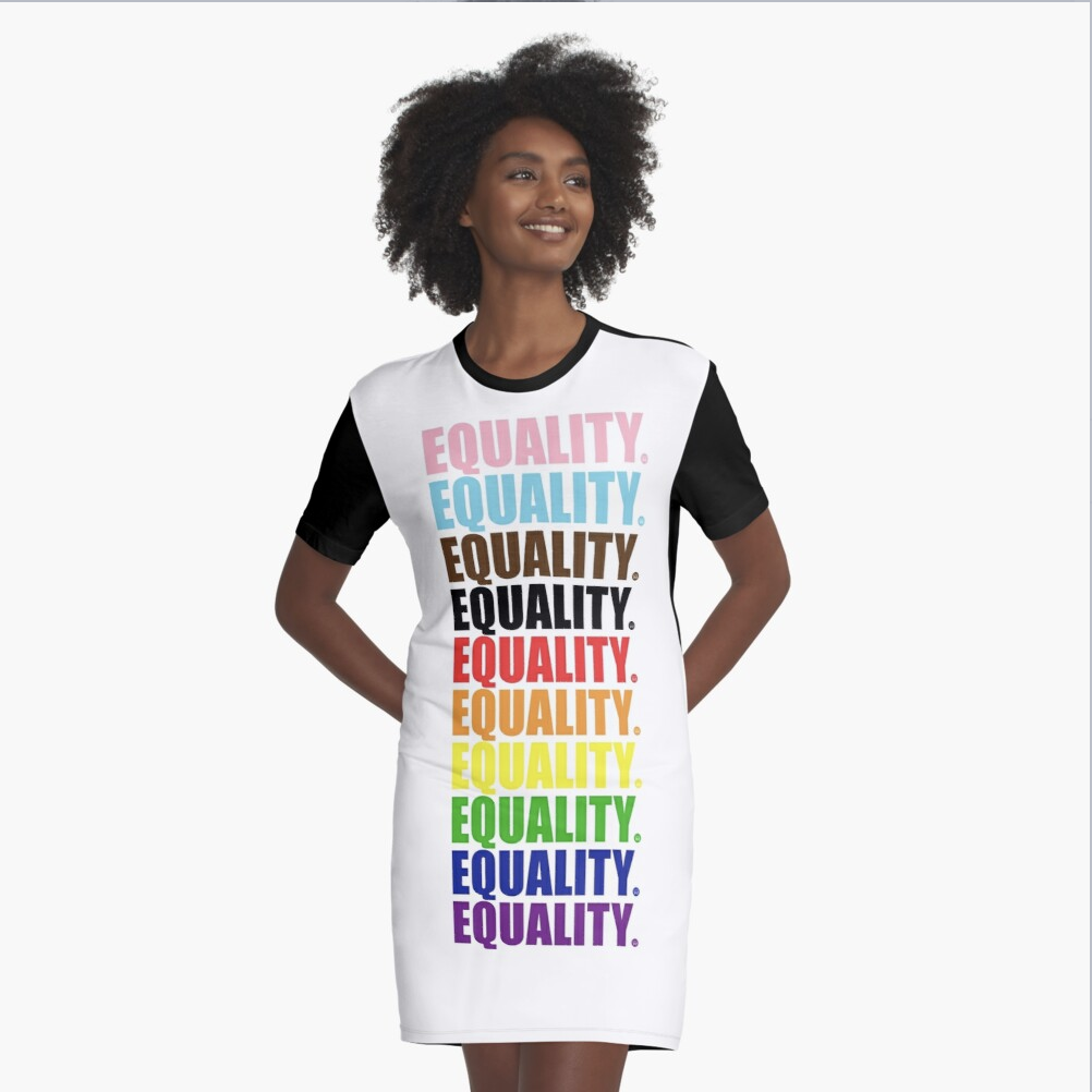 Equality Color Graphic T-Shirt Dress