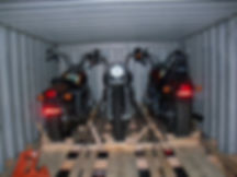 Bikes loaded into Shipping container to America