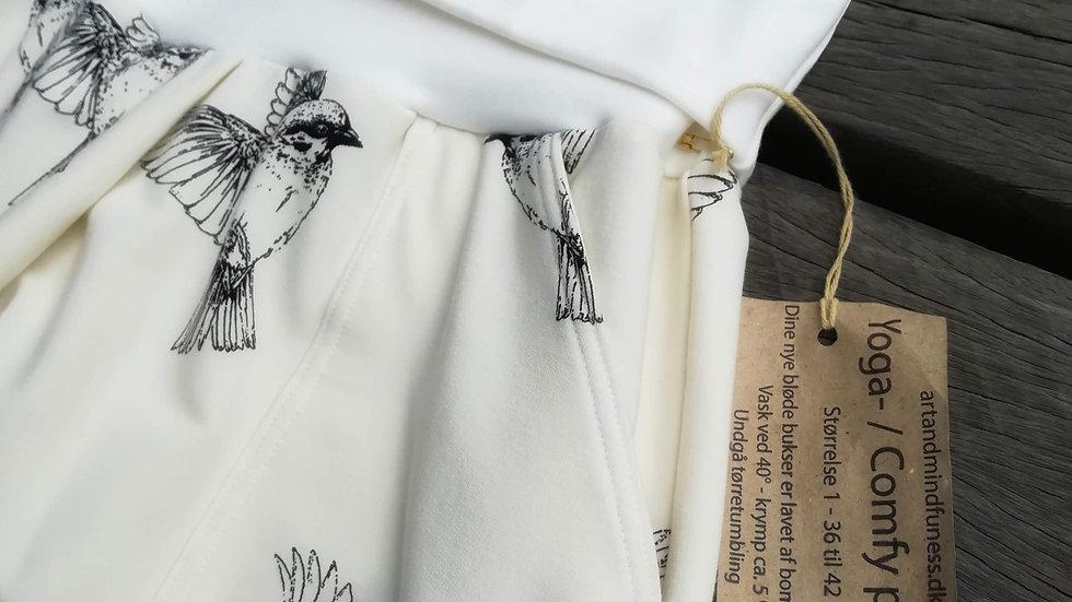 Yoga- / Comfy Pants - Off white med fugle