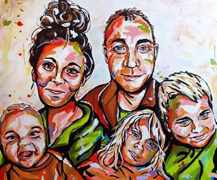 Familieportræt 100x120 cm