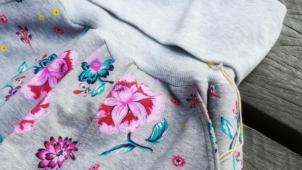 Yoga- / Comfy Pants - Gråmeleret med blomster