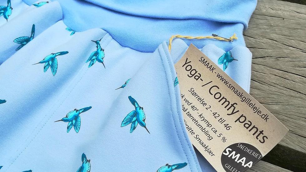 Yoga- / Comfy Pants  - Lys blå med kolibri