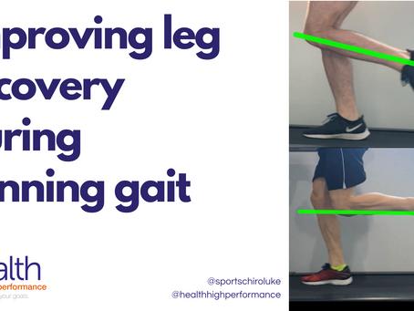 Improving leg recovery during running gait