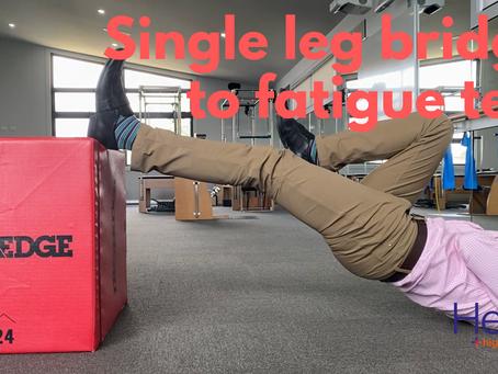 Single leg bridge to fatigue: how's your hamstring strength?