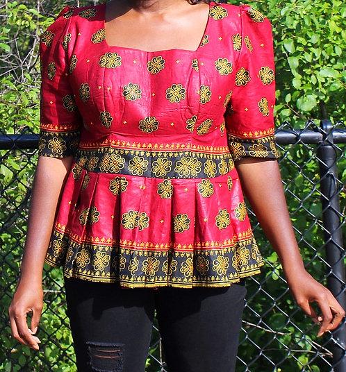 Red Pattern Women Blouse