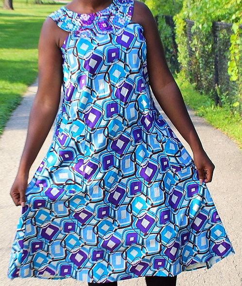 Short Women Dress - Blue Pattern