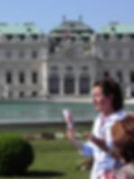 Guiando delante del Belvedere en viena