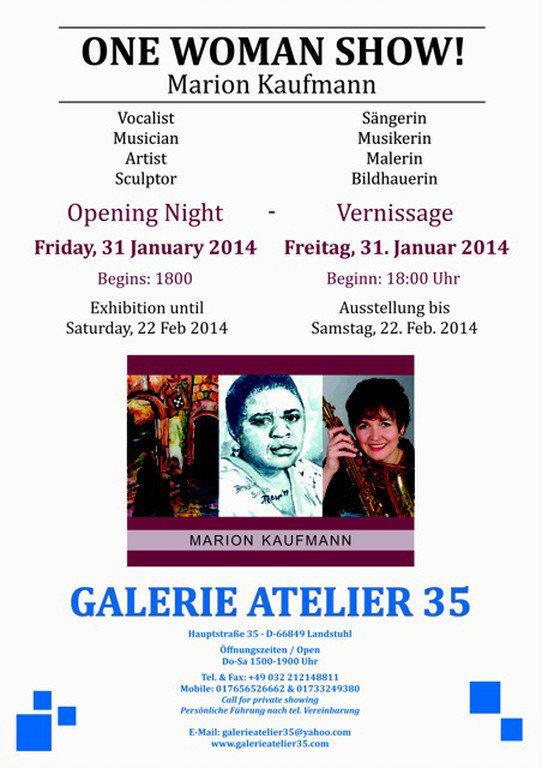 "Marion Kaufmann, Künstlerin 31. Januar 2014 - ""One Woman Show"""