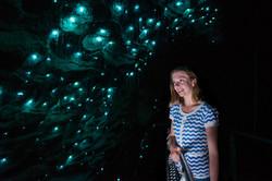 Ruakuri Cave 1516 NZ Girl Looking at Glowworms Up Close