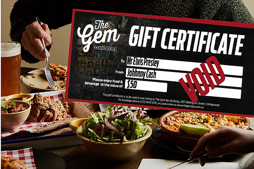 $50 Gift Voucher - Food or Drink