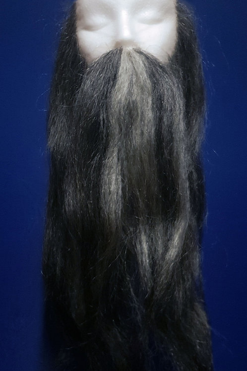 Mixed Grey Beard and Moustache Set