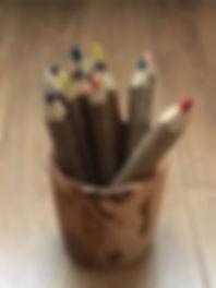 Décoration - pot en bois d'olivier et cr