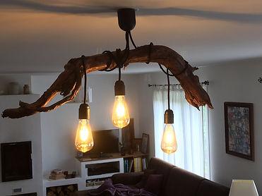 Décoration - luminaire en bois flotté