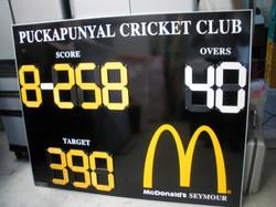 Custom Cricket Scoreboard with sponsor