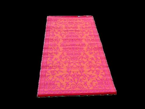 Plastic vloerkleed 90x180 cm oranje/roze