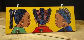 Kapstokje African women geel