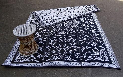 Plastic vloerkleed 180x270 cm zwart/wit