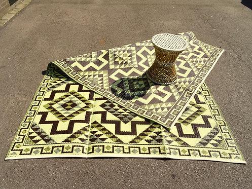 Plastic vloerkleed 180x270 cm coffee aztec