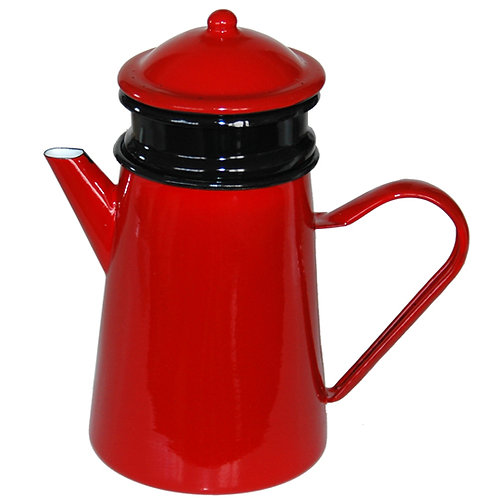 koffiepot emaille rood