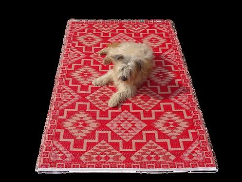 Plastic vloerkleed 120x180 cm rood aztec