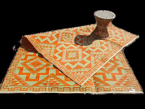 Plastic vloerkleed 180x270 cm orange aztec