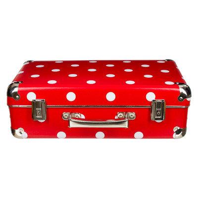 koffer rood met grote witte stip 40 cm