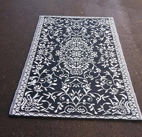 Plastic vloerkleed 120x180 cm zwart/wit