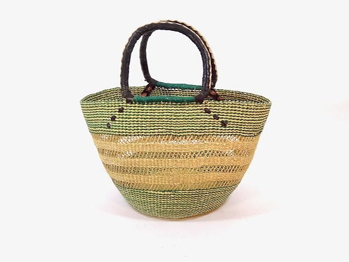 Rieten Fashion Shopper naturel/groen opengewerkt