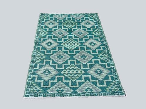 Plastic vloerkleed 120x180 cm groen aztec