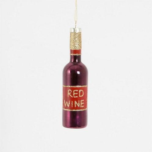 Kersthanger rode wijn fles