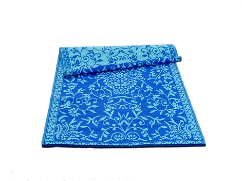 Plastic vloerkleed 120x180 cm blauw/aqua