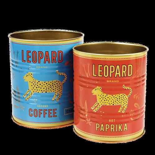 Set opbergblikken leopard