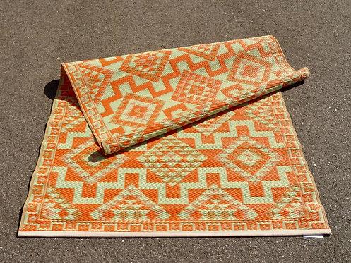 Plastic vloerkleed 120x180 orange aztec