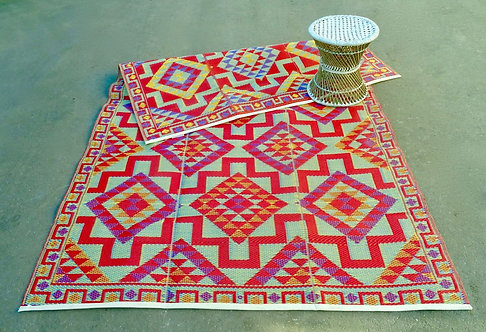 Plastic vloerkleed 180x270 cm red aztec