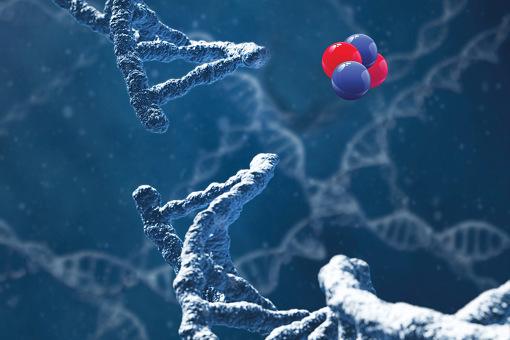 6 - Alpha particles destroying the cancer cell DNA causing double-strand breaks