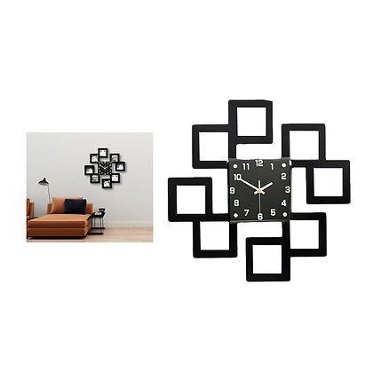 Relógio de parede com quadros para fotografias
