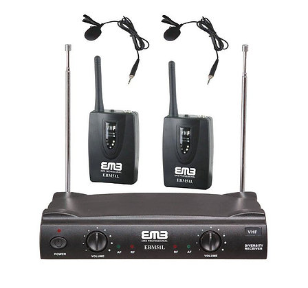 EMB VHF EBM52H Professional Dual Wireless Lavalier Microphone System