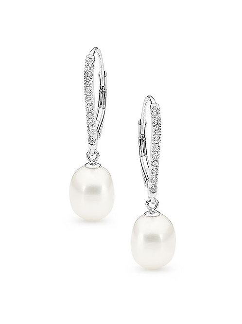 Freshwater Pearl Cubic Zirconia Hook Clip Earrings