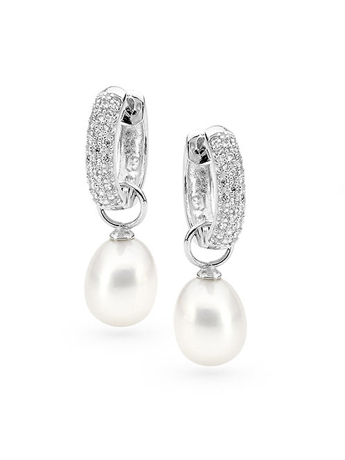 Freshwater Pearl Cubic Zirconia Interchangable Huggy Earrings