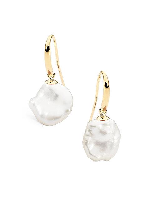 9ct YG Keshi Freshwater Pearl Hook Earrings