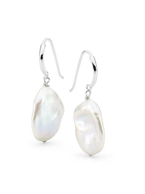 Sterling Silver Keshi Pearl Drop Earrings