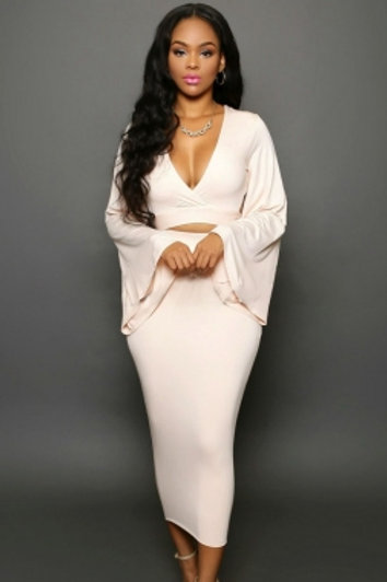 Soft Pink Bell Sleeves Two Piece Skirt Set