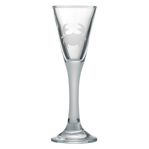 Snapseglas, krabbe sandblæst