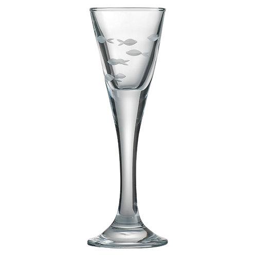Snapseglas, slebet sildestime
