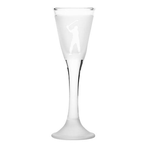 Snapseglas, golfspiller klar