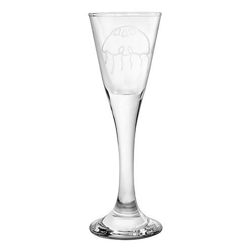 Snapseglas, graveret vandmand