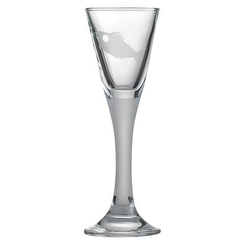 Snapseglas, fisk sandblæst