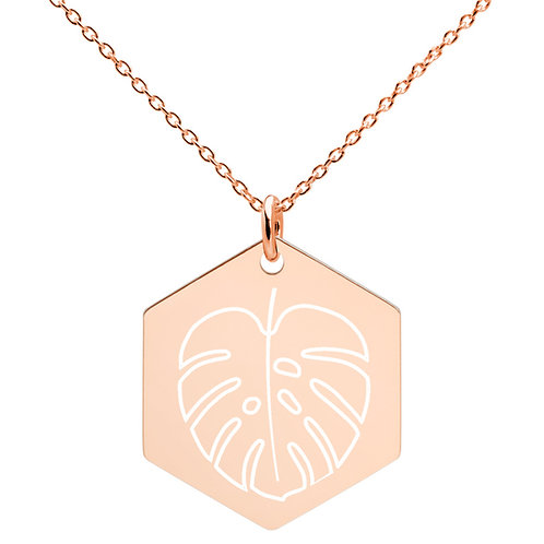 El Yunque Leaf -  Hexagon Necklace