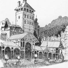 Pen drawing Karlovy Vary